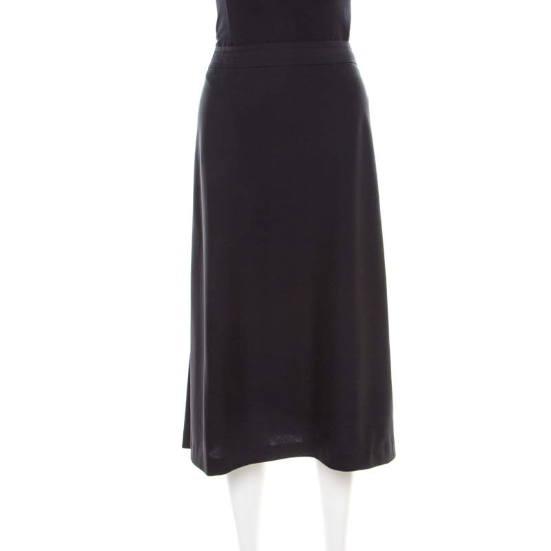 Jil Sander Black Wool A-Line Skirt L