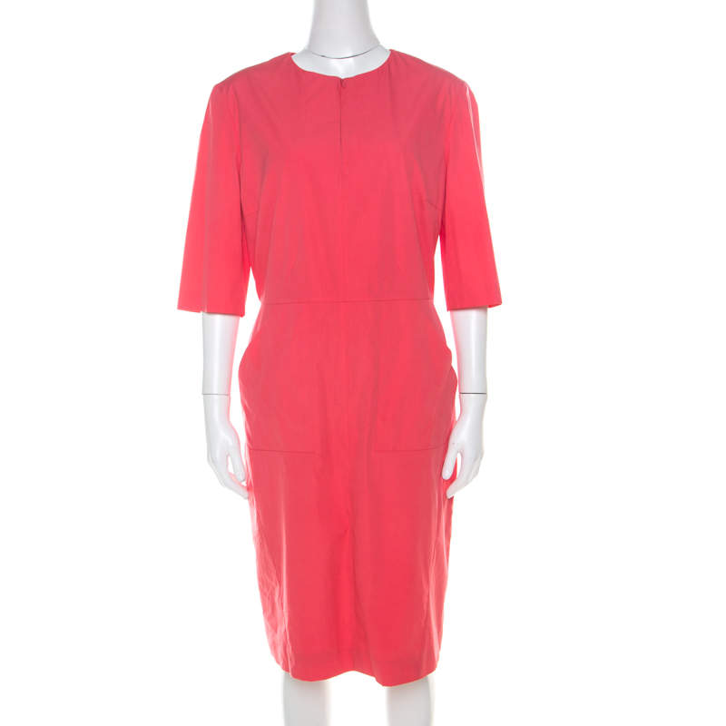 Jil Sander Coral Pink Cotton Zip Front Midi Dress M