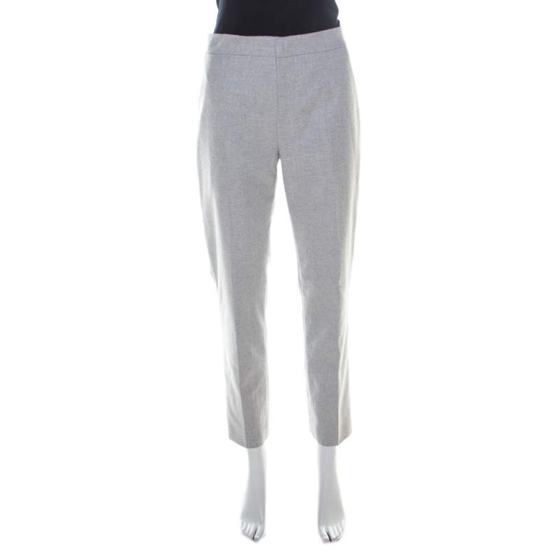 Jil Sander Grey Wool Blend Felt Tapered Trousers M