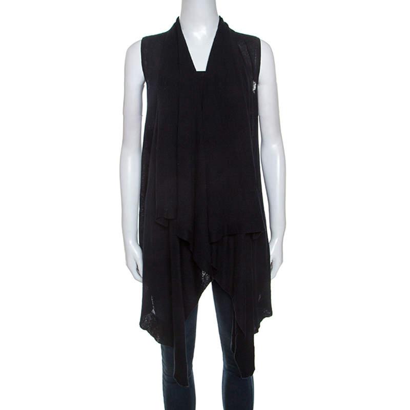 Jil Sander Navy Blue Knit Waterfall Front Sleeveless Sweater S