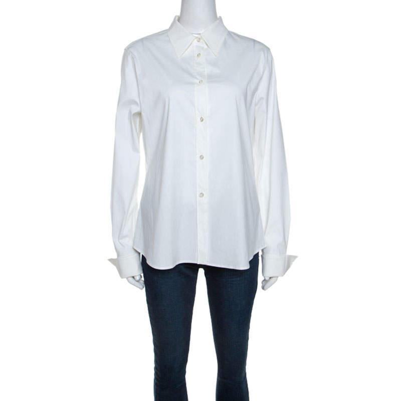 Jil Sander Off White Stretch Front Button Shirt L