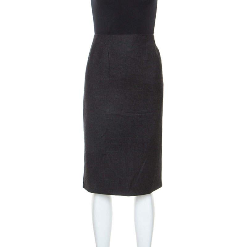 Jill Sander Grey Virgin Wool and Cashmere Blend Sheath Skirt XL