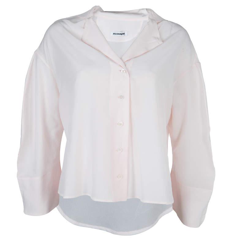 Jil Sander Pale Pink Long Sleeve Oversized Silk Blouse S