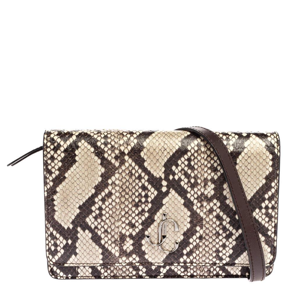 Jimmy Choo Black/White Snakeskin Effect Leather Palace Shoulder Bag