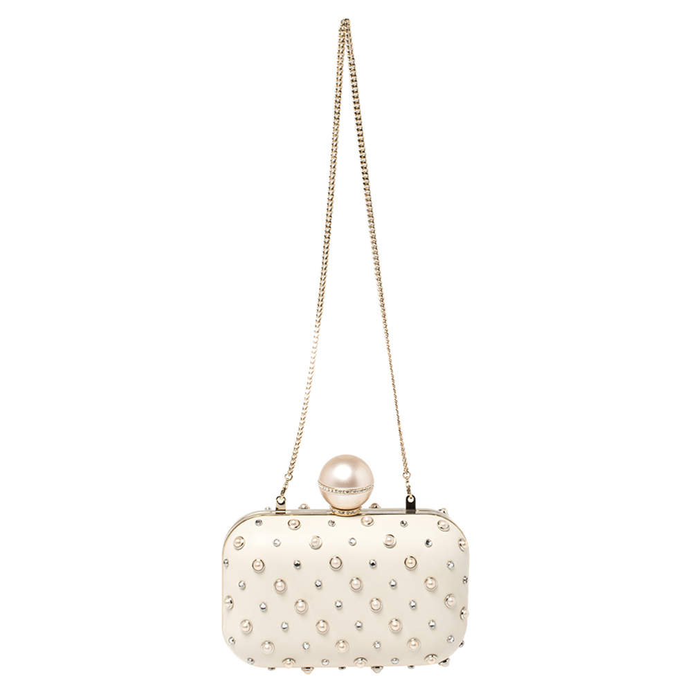 Jimmy Choo Cream Leather Pearl Mix Ball Clasp Cloud Clutch