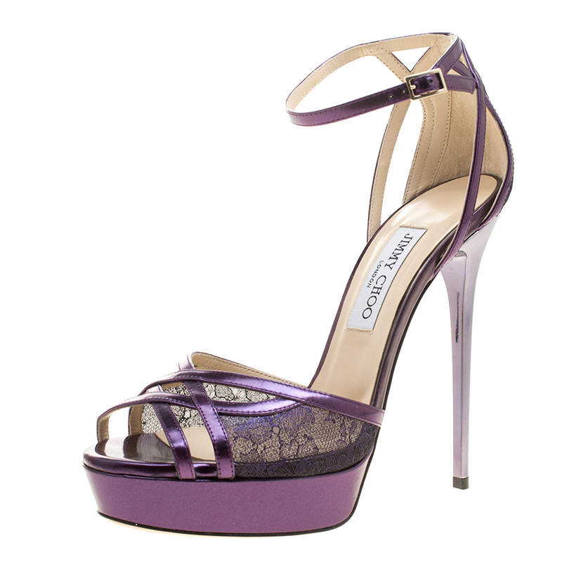 Jimmy Choo Metallic Purple Leather and Lace Laurita Platform Ankle Strap Sandals Size 40