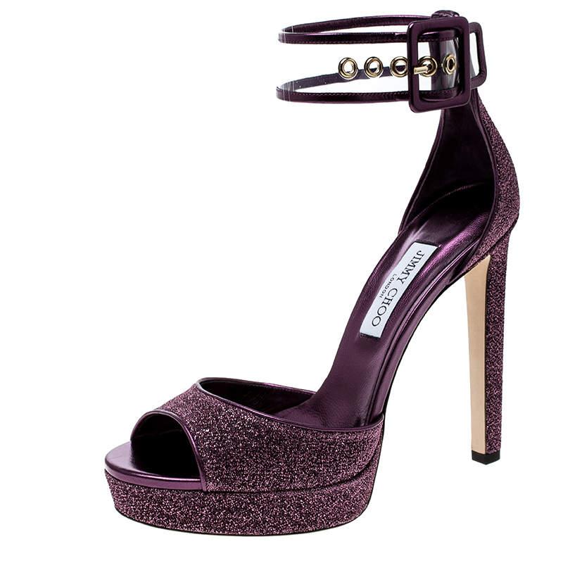 Jimmy Choo Metallic Berry Purple Lamè Fabric and PVC Mayner Peep Toe Ankle Cuff Sandals Size 41