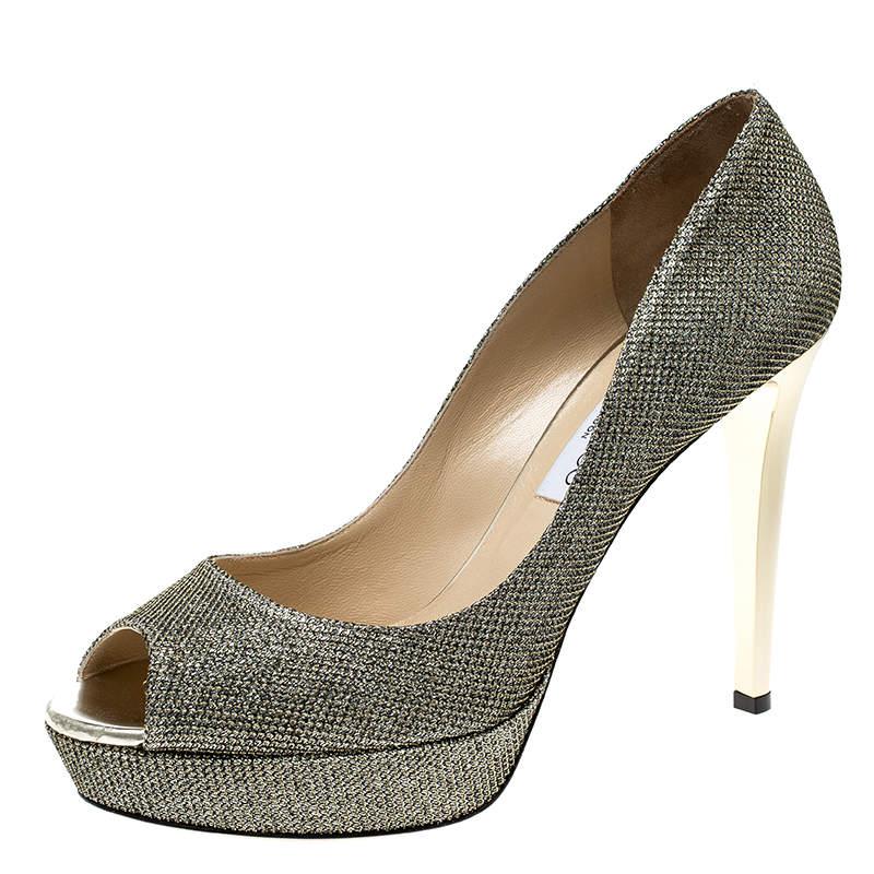 Jimmy Choo Metallic Gold Lamè Glitter Fabric Dahlia Platform Peep Toe Pumps Size 41