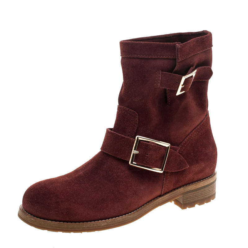 Jimmy Choo Brick Suede Youth Buckle Detail Biker Boots Size 37.5
