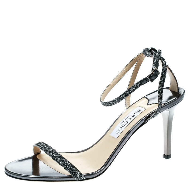 Jimmy Choo Metallic Dark Grey Lamè Fabric Minny Ankle Strap Open Toe Sandals Size 41