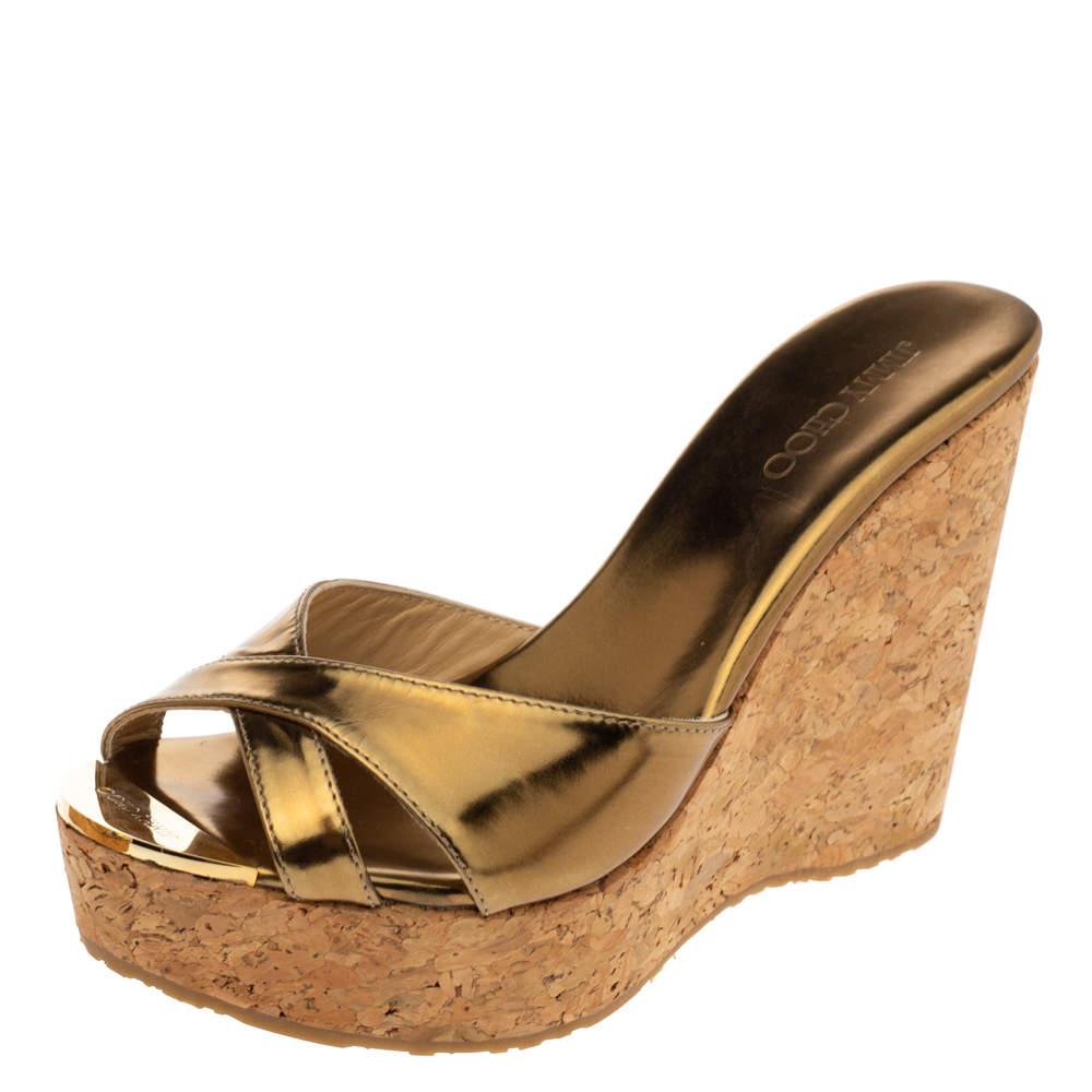 Jimmy Choo Metallic Bronze Patent Leather Perfume Cork Wedge Platform Slide Sandals Size 37