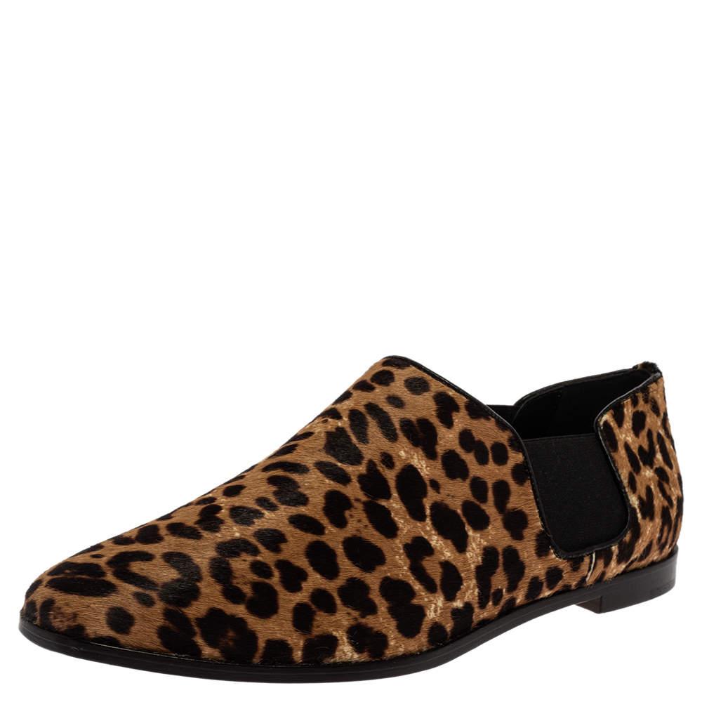 Jimmy Choo Leopard Print Calf Hair And Elastic 'Glint' Slip On Loafer Size 39