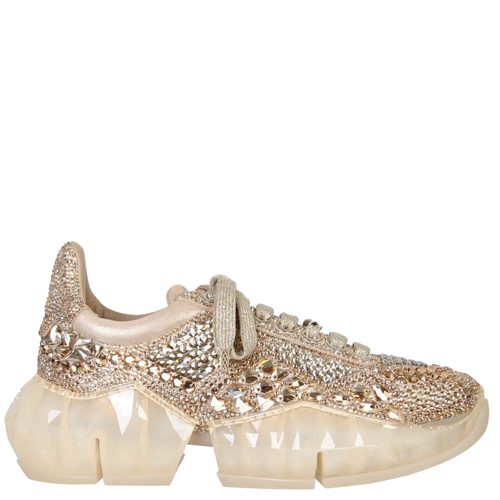 Jimmy Choo Gold Leather Diamond Sneakers Size EU 39
