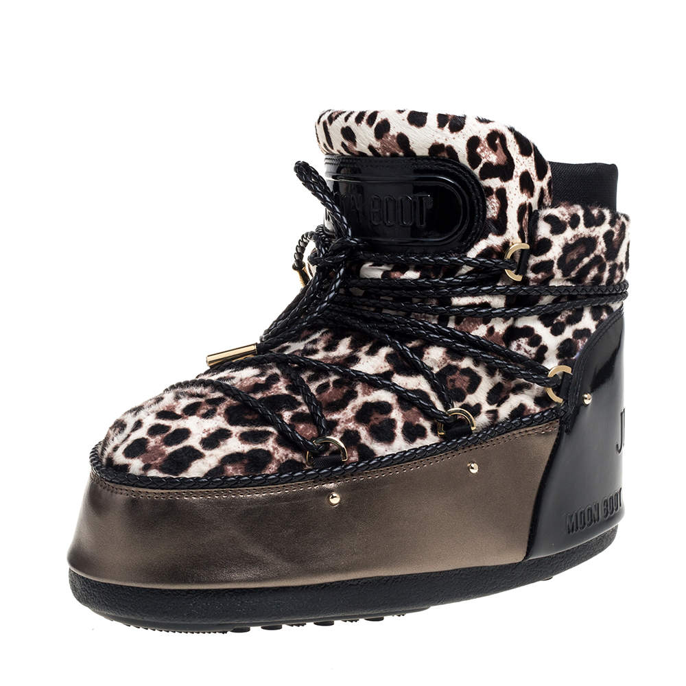 Jimmy Choo Leopard Print Calf Hair And Metallic Bronze Leather Moon Boots Size 41/42