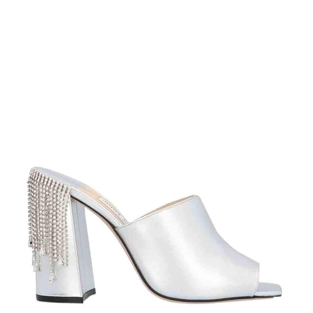 Jimmy Choo Silver Baia Mules Size EU 38.5