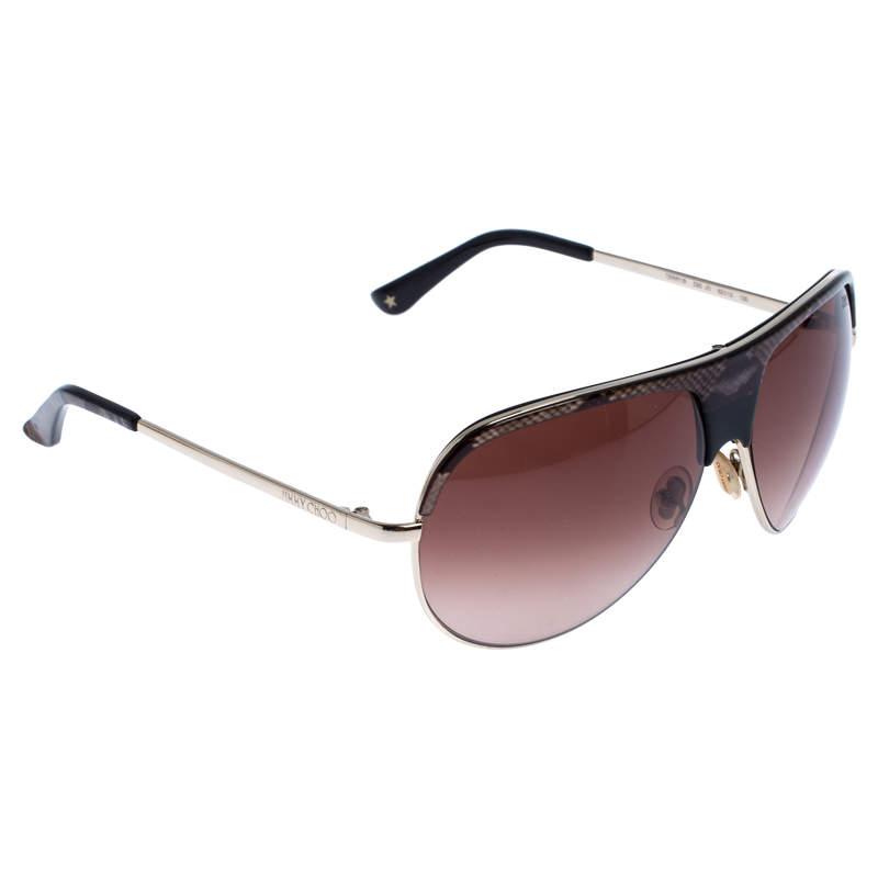 Jimmy Choo Gold/Brown Gradient Terry Aviator Sunglasses