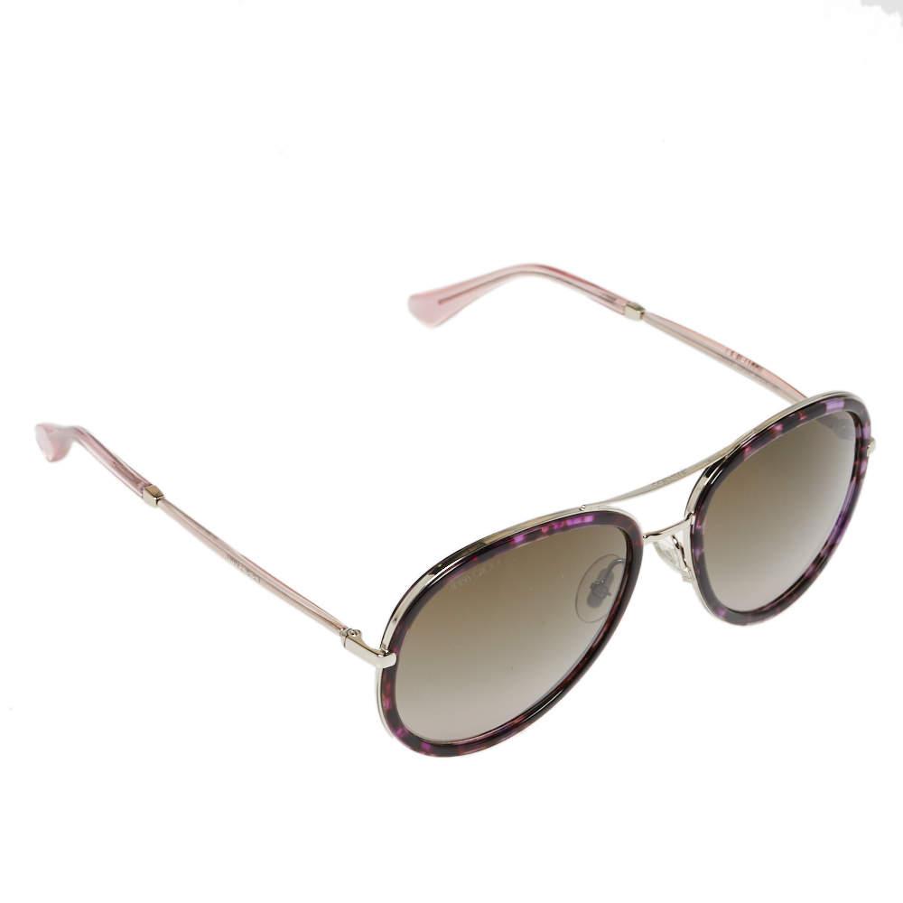 Jimmy Choo Purple Havana/ Khaki Gradient Tora Pilot Sunglasses