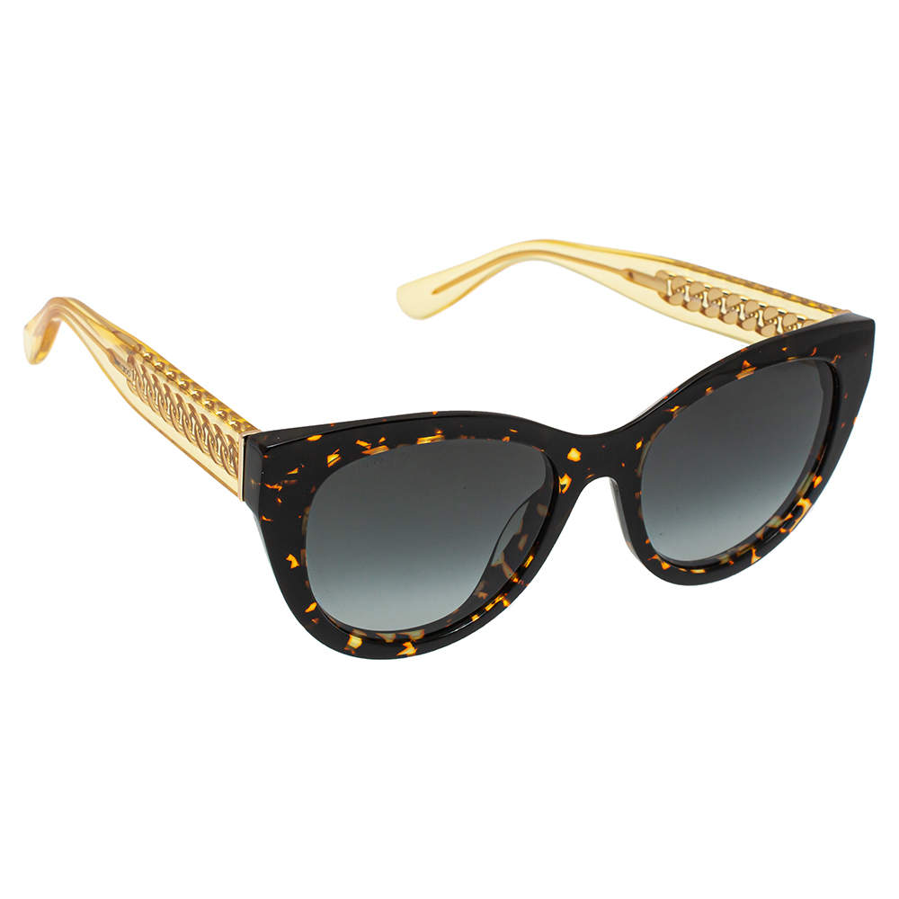 Jimmy Choo Brown Havana with Gold Chain/ Grey Gradient Chana/S Cat Eye Sunglasses