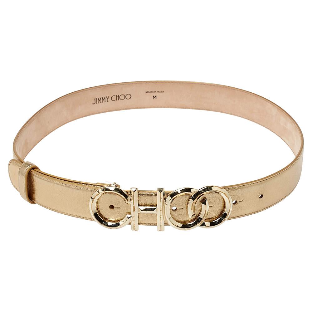 Jimmy Choo Metallic Gold Leather Choo Logo Buckle Waist Belt Size M