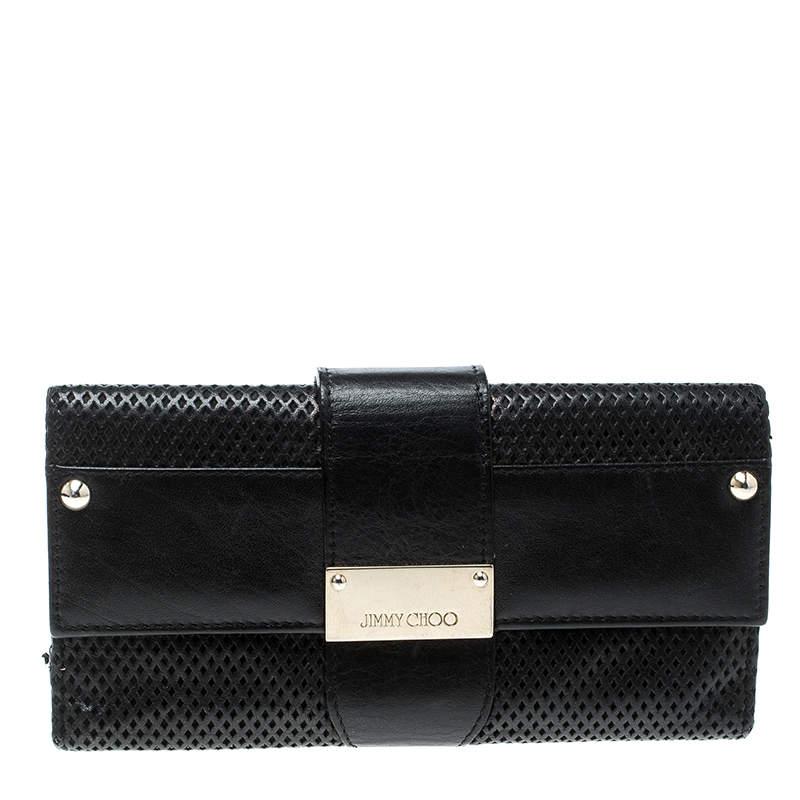 Jimmy Choo Black Laser Cut Leather Uma Wallet