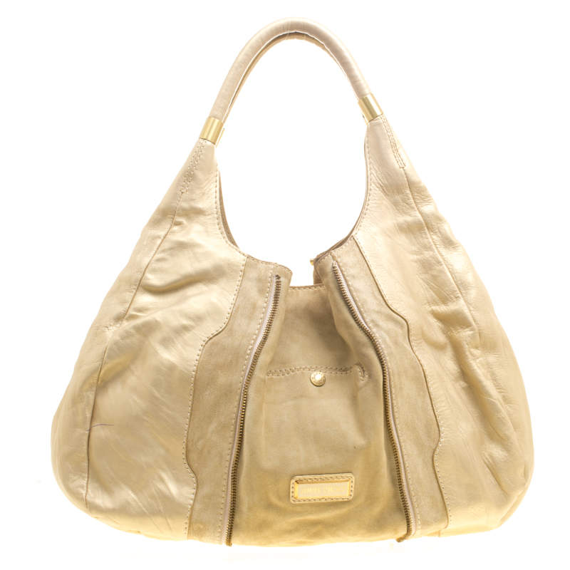 Jimmy Choo Beige/Gold Leather and Suede Mandah Expandle Bag