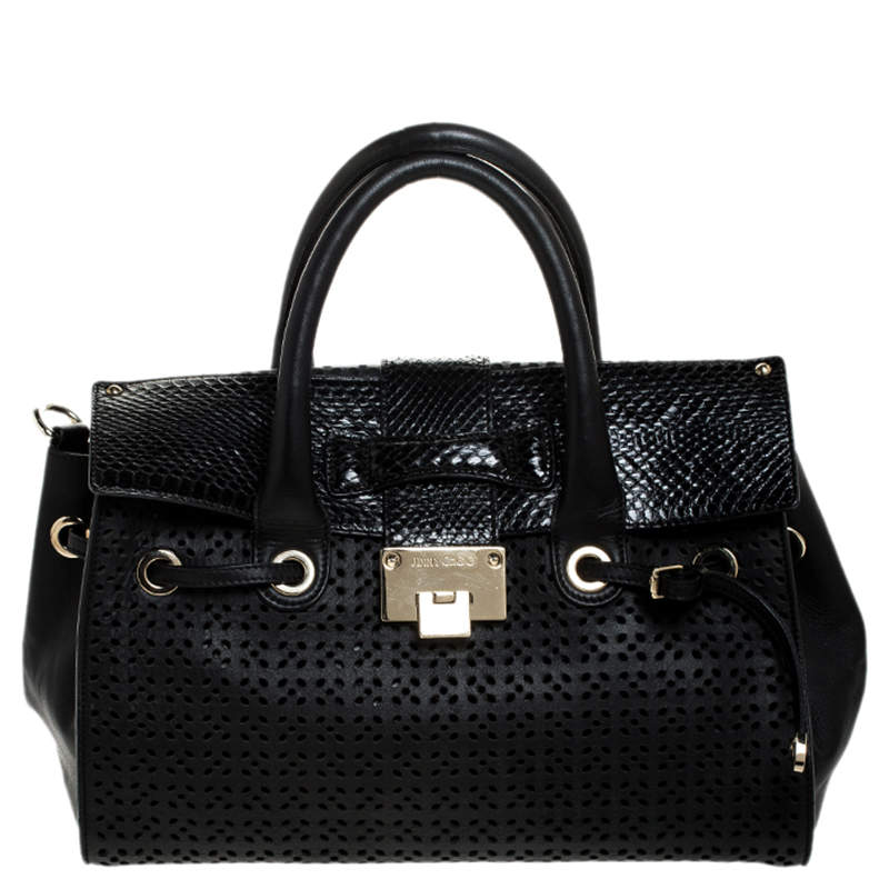 Jimmy Choo Black Perforated Leather and Snakeskin Rosa Flap Over Tote