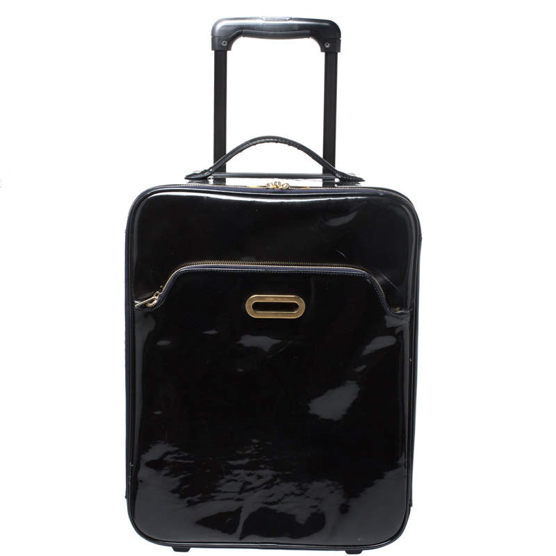 Jimmy Choo Black Patent Leather Terence Suitcase