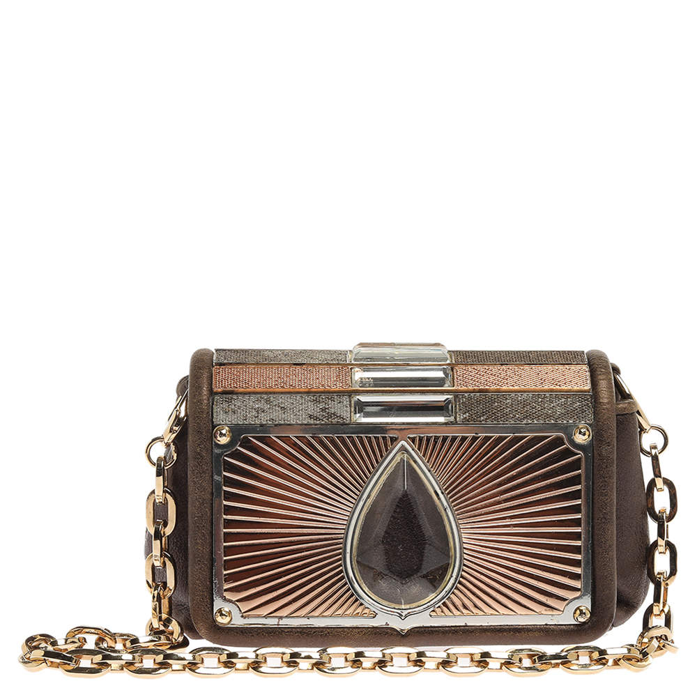 Jimmy Choo Khaki/Multicolor Leather and Metal Crystal Embellished Chain Clutch
