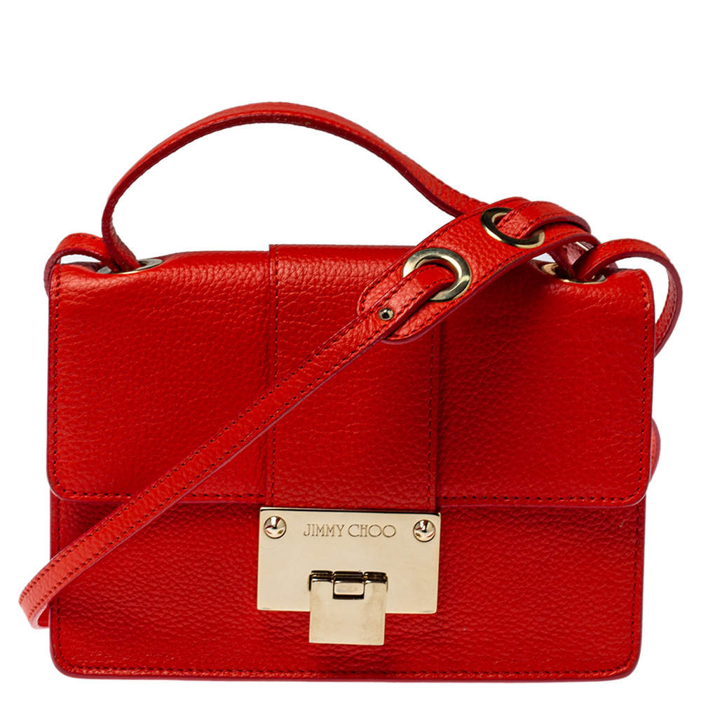 Jimmy Choo Orange Leather Rebel Crossbody Bag