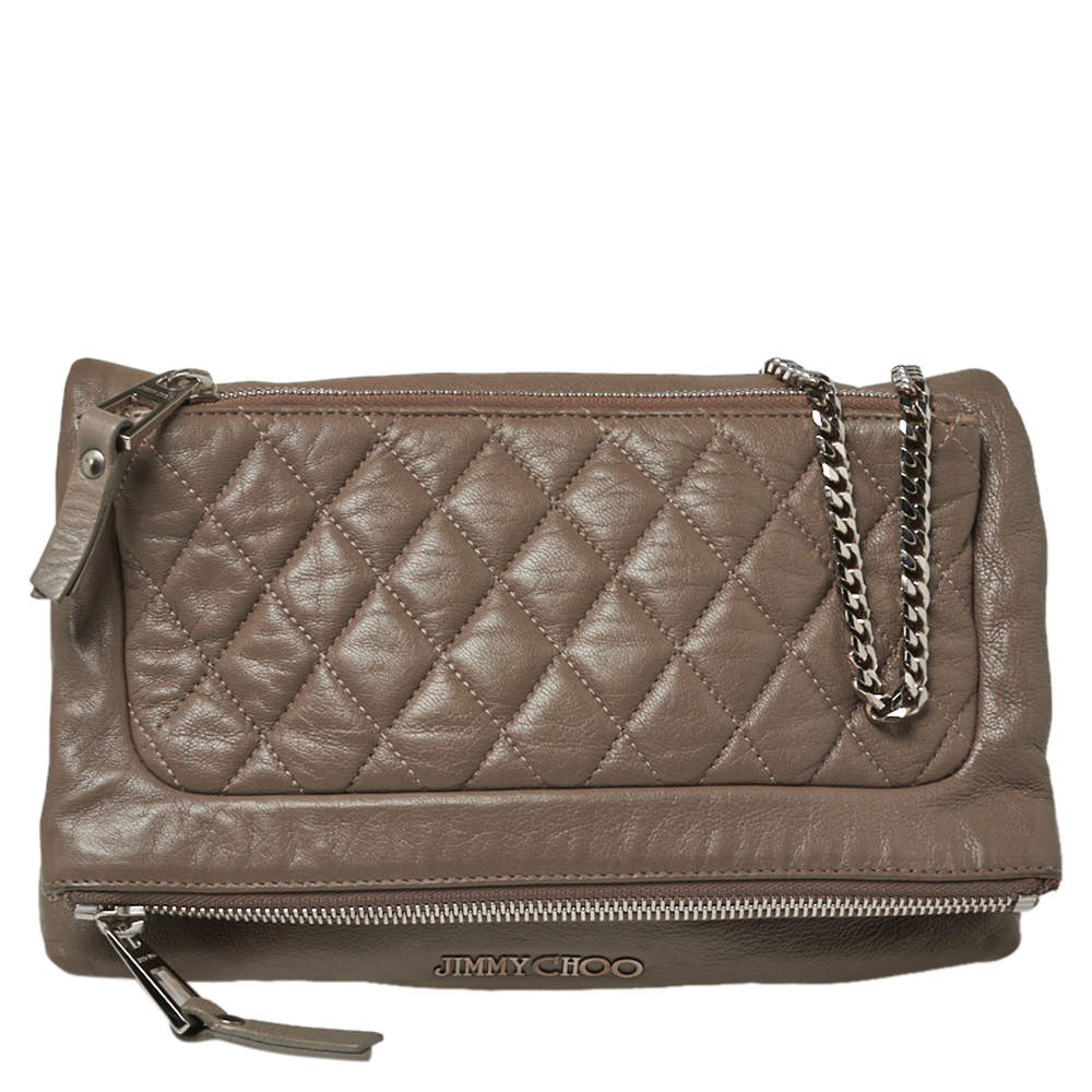 Jimmy Choo Dark Beige Quilted Leather Bex Clutch