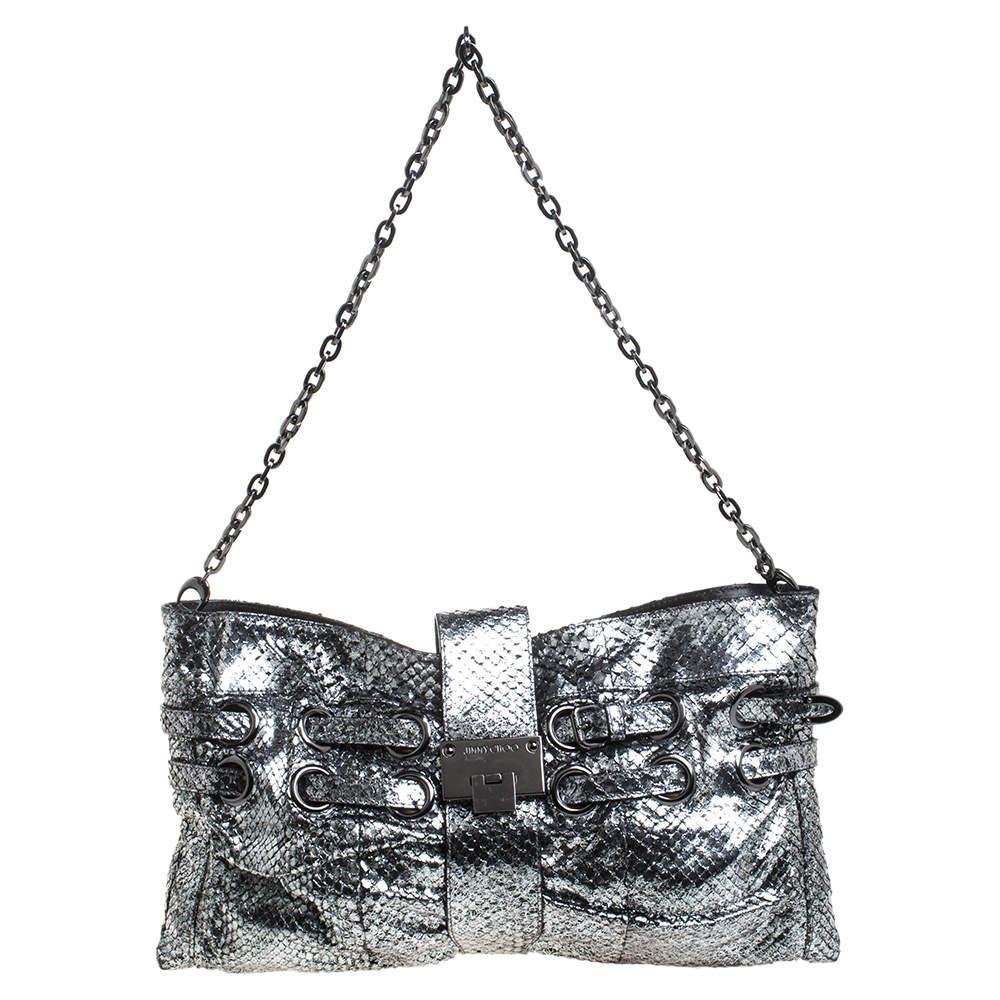 Jimmy Choo Silver Python Effect Patent Leather Riki Chain Shoulder Bag