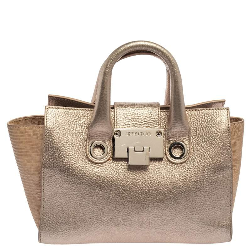 Jimmy Choo Light Rose Gold Leather and Lizard Embossed Riley Tote