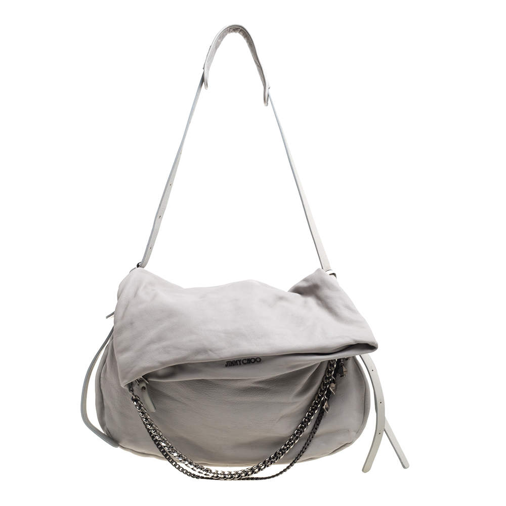 Jimmy Choo Grey Leather Large Biker Saddle Chain Shoulder Bag