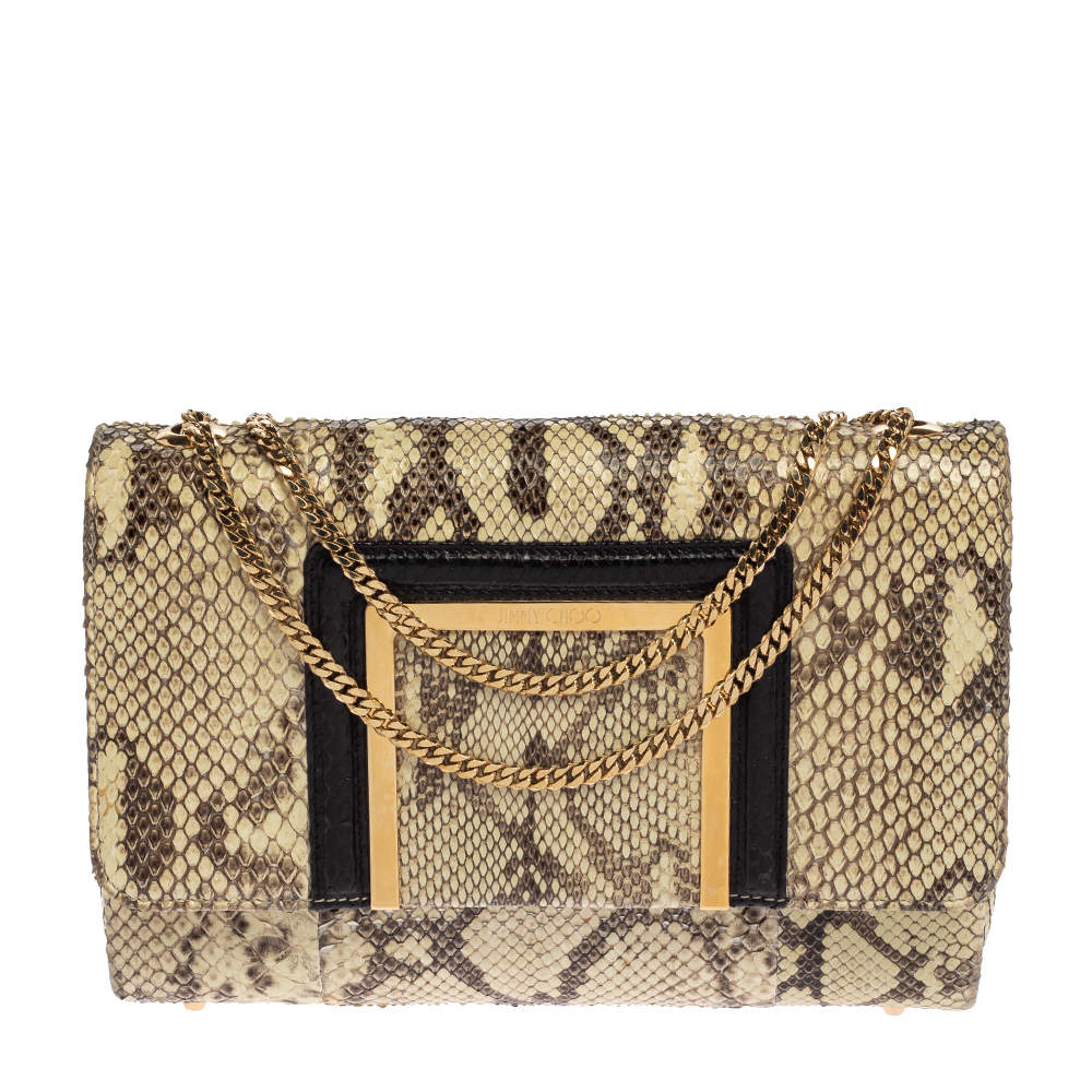 Jimmy Choo Cream/Black Python Alba Shoulder Bag