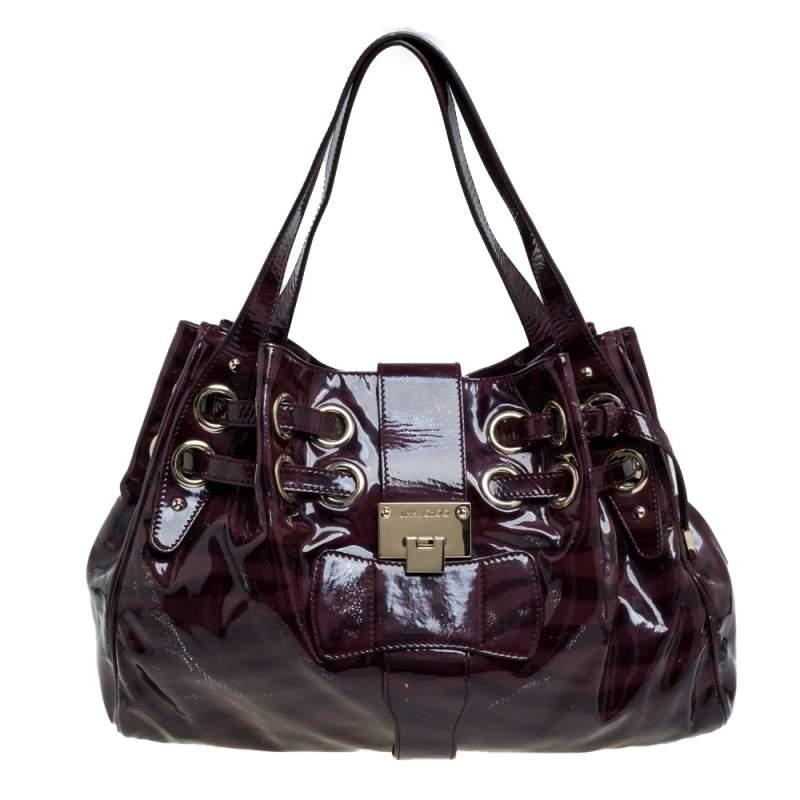 Jimmy Choo Burgundy Zebra Print Patent Leather Ramona Shoulder Bag