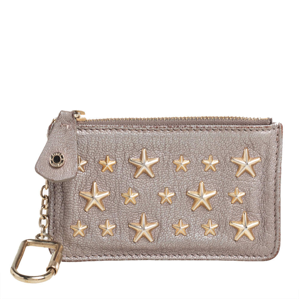 Jimmy Choo Metallic Grey Leather Nancy Star Studded Key Pouch