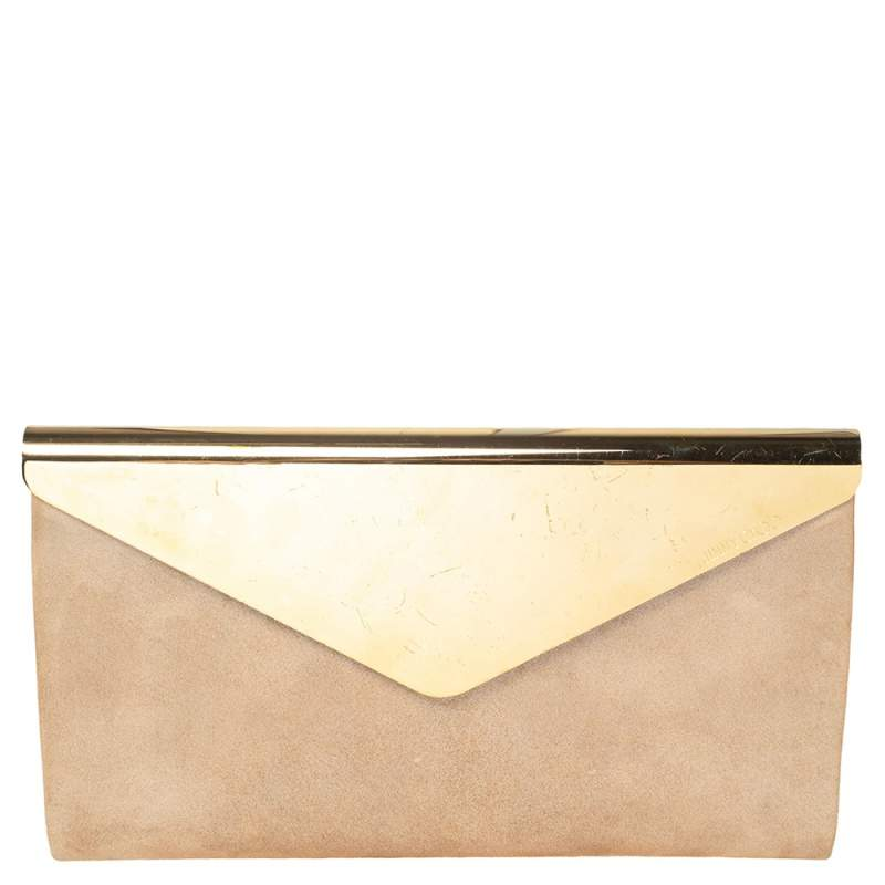 Jimmy Choo Shimmer Suede and Metal Charlize Envelope Clutch