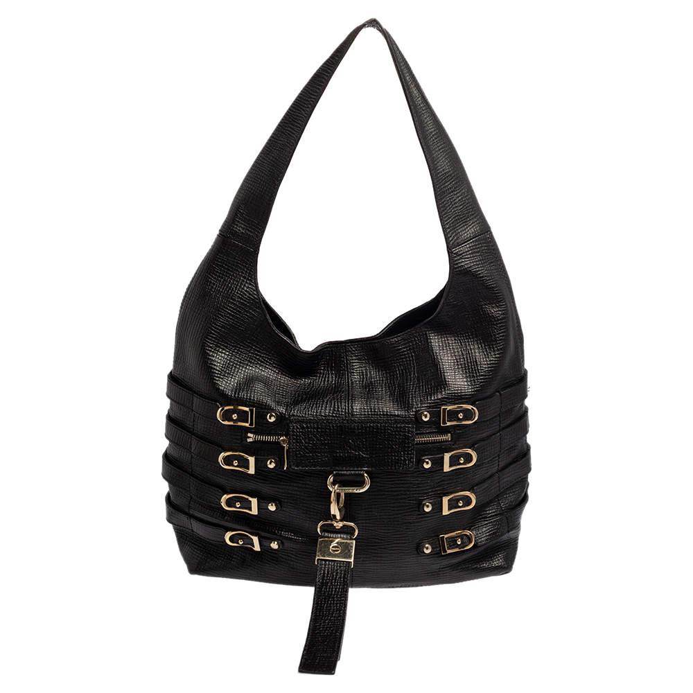 Jimmy Choo Black Textured Leather Bardia Buckle Hobo