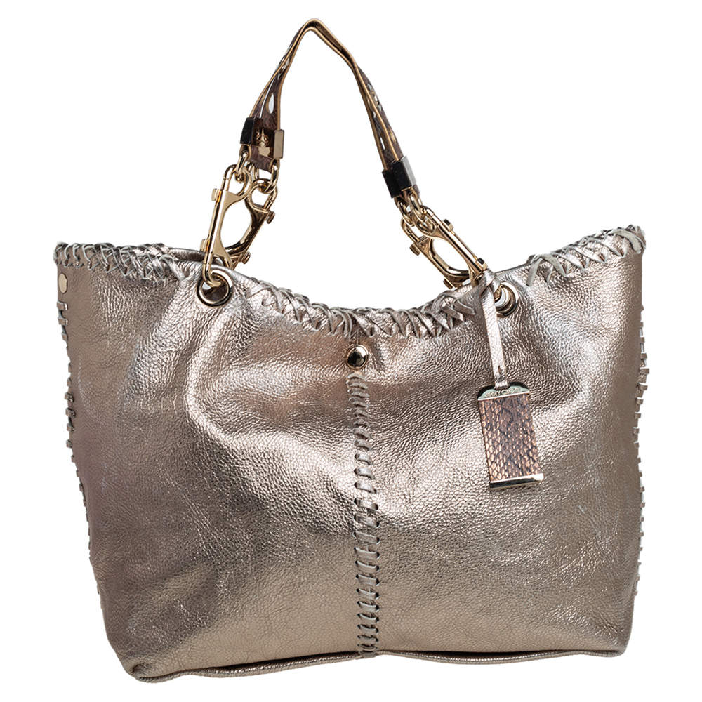 Jimmy Choo Metallic Leather and Snakeskin Trim Whipstitch Hobo