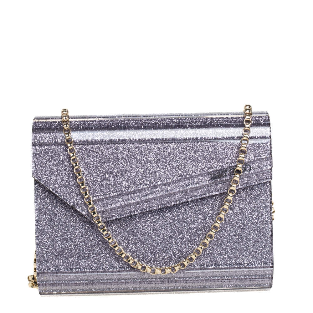 Jimmy Choo Purple Glitter Acrylic Candy Chain Clutch