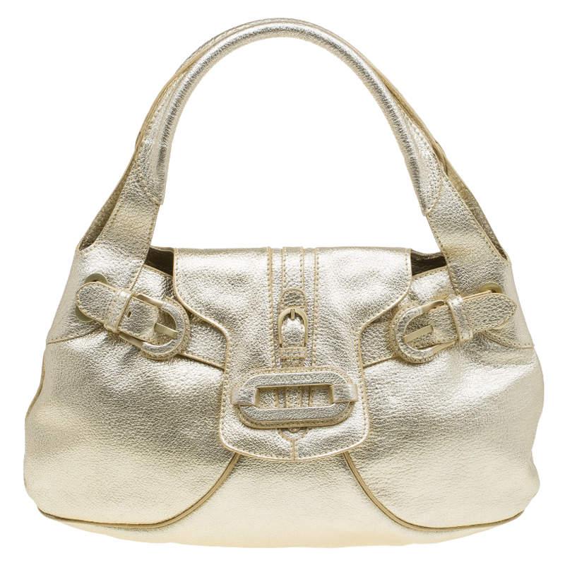 Jimmy Choo Gold Leather Tulita Hobo