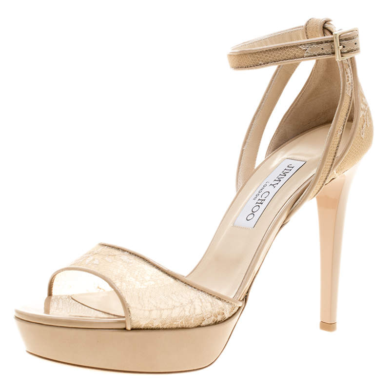 Jimmy Choo Beige Lace and Patent Leather Kayden Ankle Strap Platform Sandals Size 40