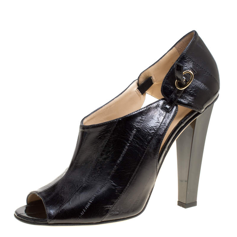 Jimmy Choo Black Eel Leather Keira Ankle Boots Size 40