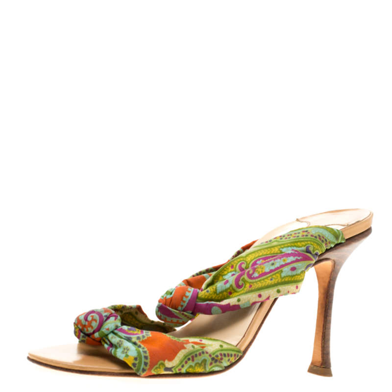 Jimmy Choo Multicolor Fabric Knot Slide Sandals Size 37