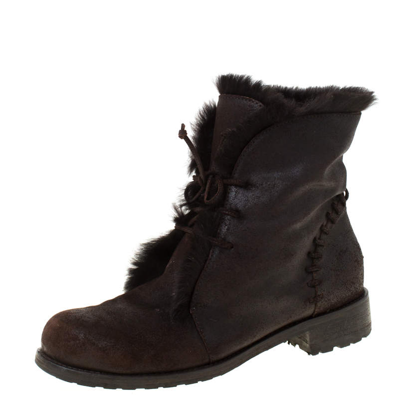 Jimmy Choo Dark Brown Leather and Fur Lace Ankle Boots Size 38.5