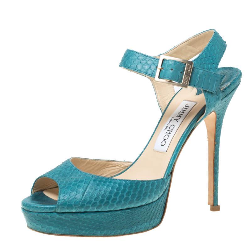 Jimmy Choo Blue Python Peep Toe Platform Sandals Size 38.5