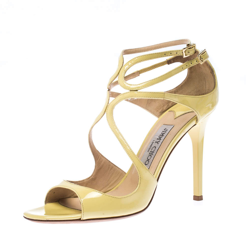 Jimmy Choo Yellow Patent Leather Lang Strap Sandals Size 39.5