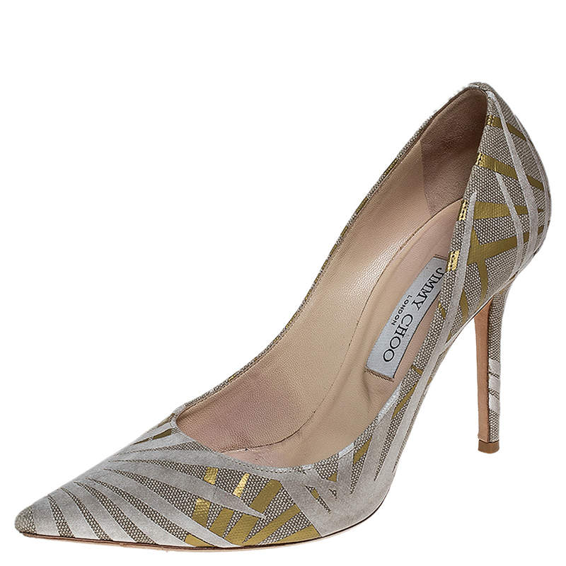 Jimmy Choo Grey/Gold Canvas Romy Pointed Toe Pumps 39.5
