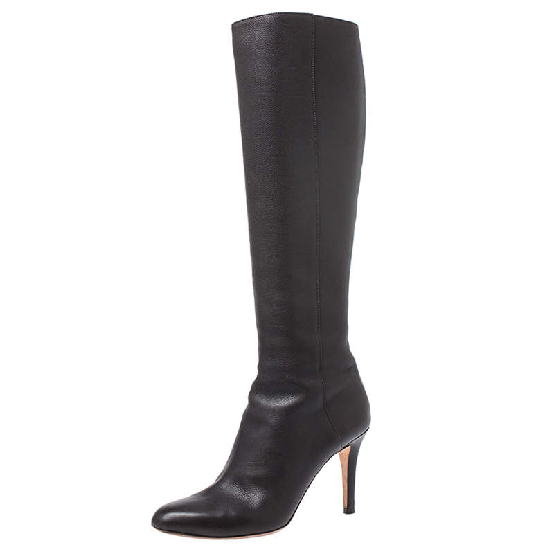 Jimmy Choo Dark Brown Leather Knee Boots Size 37.5