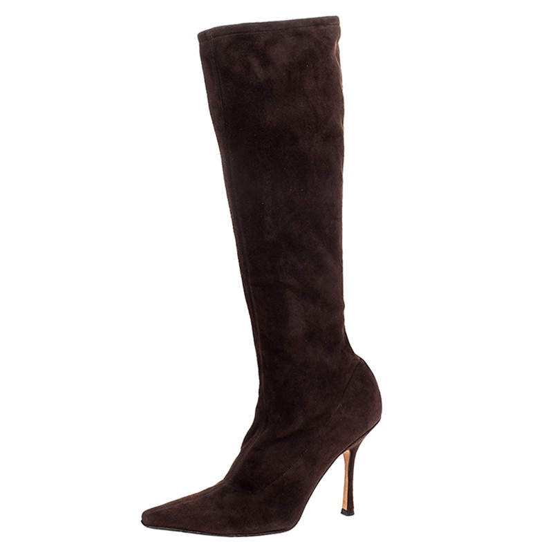 Jimmy Choo Brown Suede Leather Knee Length Pointed Toe Boots Size 38.5